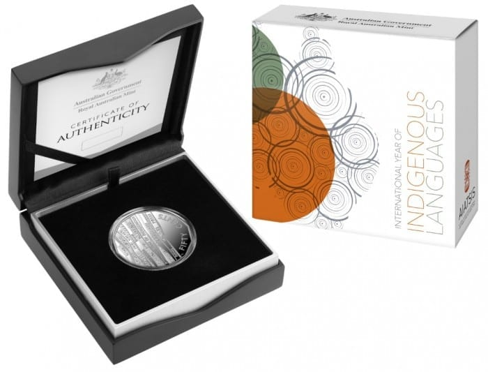 2019 Int Year of Indigenous Languages_50c Silver proof_PACKAGING